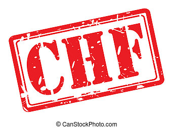 CHF red stamp text
