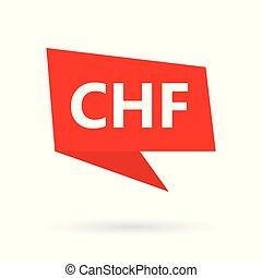 CHF (swiss franc) acronym on a speach bubble- vector...