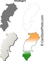 Chhattisgarh blank detailed outline map set