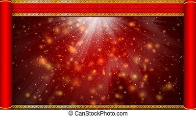 chińczyk, abstrakcyjny, 4k, tło, rok, nowy, czerwony