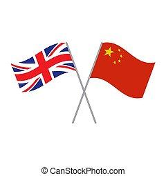 chińczyk, bandery, biały, brytyjski, odizolowany, wektor