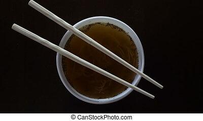 chińczyk, chwila, makarony, zamknięcie, pałeczki do jedzenia...