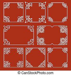 chińczyk, dekoracyjny, układa, i, brzegi, wektor, komplet