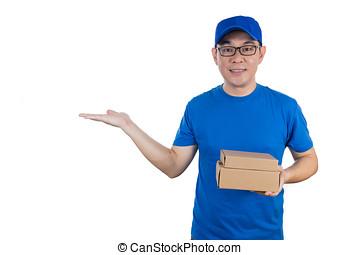 chińczyk, jednolity, doręczenie, dłoń, asian, facet, otwarty