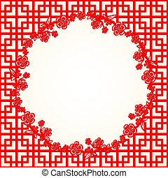 chińczyk, kwiat, wiśnia, tło, rok, nowy