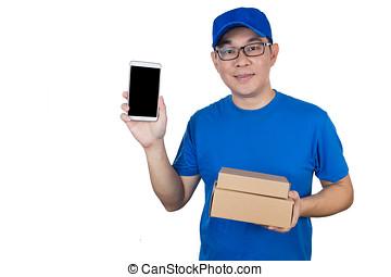 chińczyk, ruchomy, pokaz, jednolity, doręczenie, telefon, asian, facet