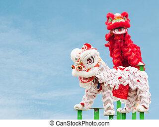 chińczyk, taniec, lew, kostium, podczas, rok, nowy, celebrowanie