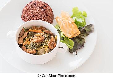 chińczyk, tofu, gulasz, roślina, ryż, jagoda