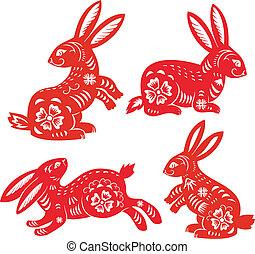 chińczyk, zodiak, od, królik, year.