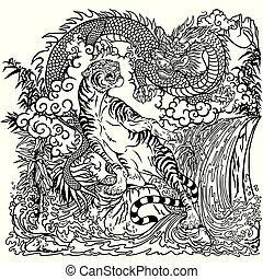 chiński smok, i, tiger, kolorowanie, strona