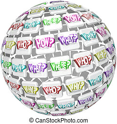 chi, cosa, dove, quando, perché, come, sfera, domande, chiedere, risposte