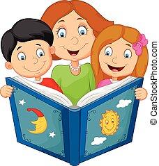chi, dessin animé, sien, lecture, mère