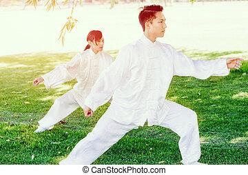 chi, gente, practicar, tailandés, parque
