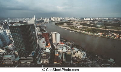 chi, ho, minh, saigon, ville, timelapse, vue, city.
