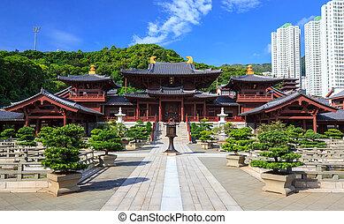 chi, lin, nunnery, espiga, dinastia, estilo, chinês, templo,...