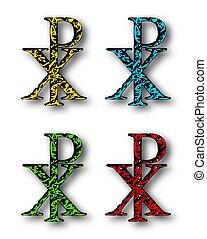 chi, rho, 基督教徒, 符號, 集合, 由于, 下跌影子