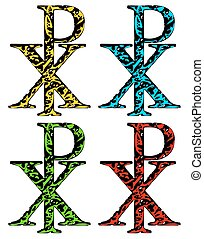 CHI RHO christian symbol in grunge style