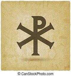 Chi Rho Christian symbol vintage background. vector...