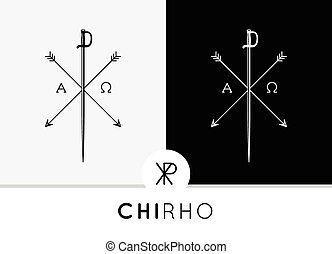 Chi-Rho symbol icon sword & arrows - Conceptual Abstract...
