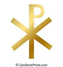 Chi rho symbol isolated christianity religion sign - Chi rho...