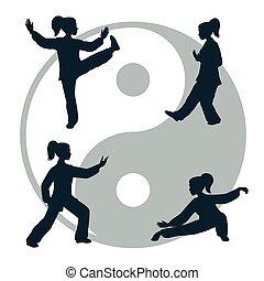 chi, tai, vrijstaand, witte achtergrond, illustratie, schets