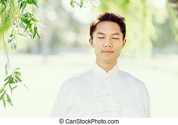 chi, tailandés, guapo, practicar, hombre