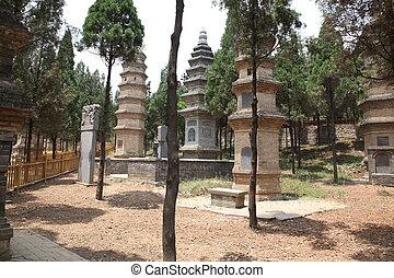 chi, xian, tempel, pagoda, opgespoorde, lin, bos, shao