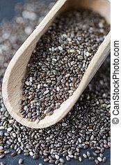 chia, 種, -, acids., 豊富, でぶ, 有機体である, 源, 乾きなさい, omega-3, フォーカス...