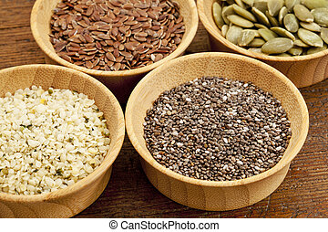 chia and other healthy seeds - chia, hemp, flax and pumpkin...