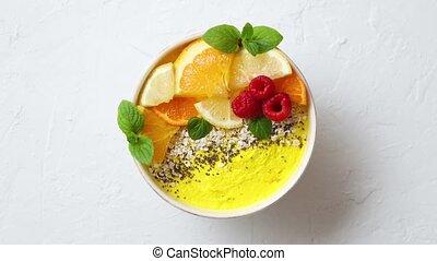 chia, ou, framboises, graines, servi, bowl., savoureux,...