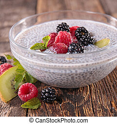 chia, pudín, semilla, fruits