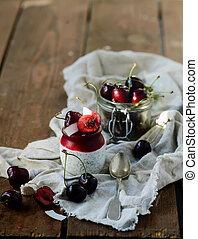chia pudding with cherry.selective focus - chia pudding with...