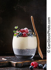 Chia pudding with rice porridge