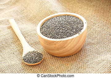 Chia seed healthy food in a wooden spoon