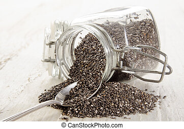 chia seed in a glass container