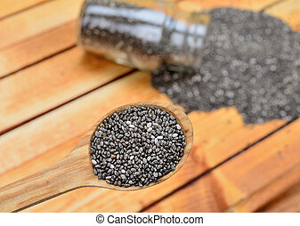 chia seed in spoon on table