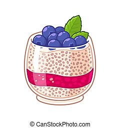 Chia seed pudding in glass with fresh blueberries and...