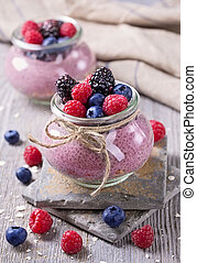 Chia seeds acai pudding