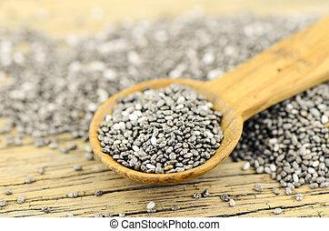 Chia seeds. - Chia seeds (salvia hispanica). Chia seeds...