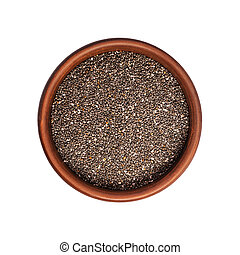 Chia seeds in bowl isolated on white background. Top view