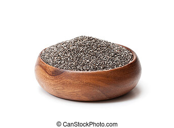Chia seeds in wooden bowl isolated on white