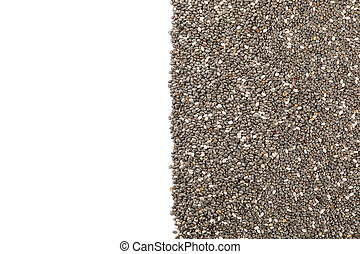 Chia seeds isolated on white background, top view