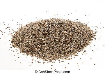 Chia seeds on white