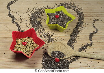 chia, sementes, cânhamo
