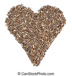 chia, srovnal, nitro, grafické pozadí., strava, opatřit vrškem prohlédnout, osamocený, systém, zdravý, forma, semena, hispanica), neposkvrněný, (salvia, concept., cardiovascular