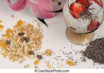 Chia, strawberries and yogurt