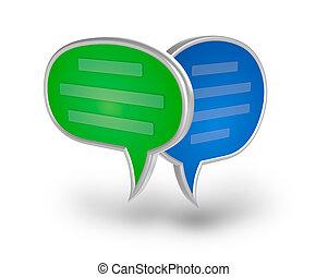 chiacchierata, bolla, 3d, icona, sopra, bianco