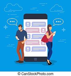 chiacchierata, concetto, illustration., giovani persone, usando, mobile, aggeggi, tale, come, pc tavoletta, e, smartphone, standing, su, uno, grande, telefono, con, uno, dialogo, su, il, screen.