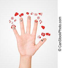chiacchierata, segno, felice, dito, sociale, gruppo, smileys, b, discorso