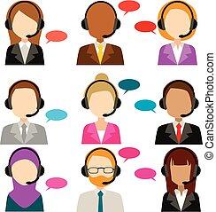 chiamata, diversità, centro, servizio, icone